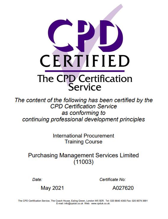 PMS International Procurement course gains CPD accreditation